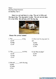 Interactive worksheet The Cat and The Dog