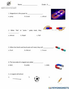 Interactive worksheet Electricity and magnetism