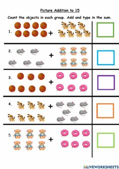 Interactive worksheet Picture Addition to 15