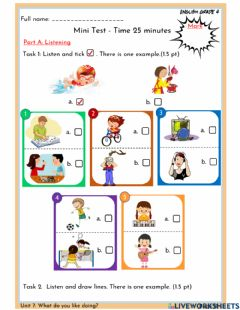 Interactive worksheet Unit 7: What do you like doing?