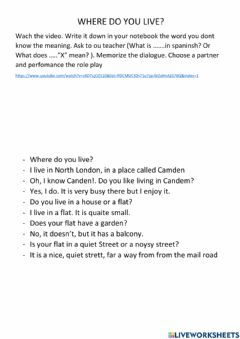 Interactive worksheet Where do you live? Role play