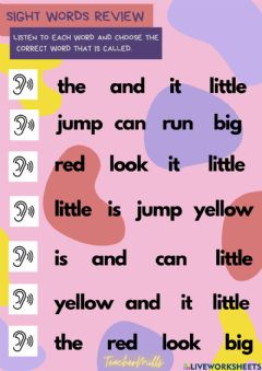 Interactive worksheet Sight words - Review