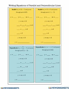 Interactive worksheet Parallel and Perpendicular Linea