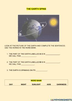 Interactive worksheet The Earth spins