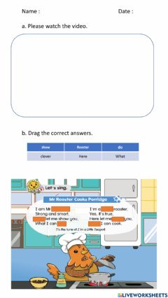 Interactive worksheet Mr Rooster and Friends