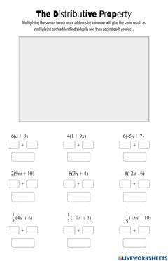 Interactive worksheet The Distributive Property