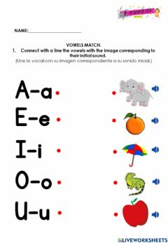 Interactive worksheet Match the vowels