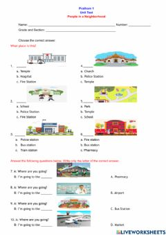 Interactive worksheet Places in a Neighborhood