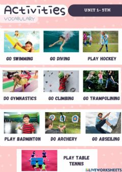 Interactive worksheet My activities party - Vocabulary