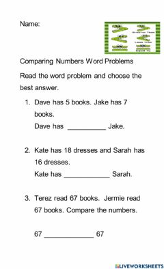 Ficha interactiva Comparing Numbers Word Problems