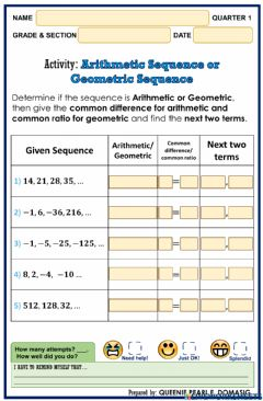 Ficha interactiva Arithmetic Sequence or Geometric Sequence