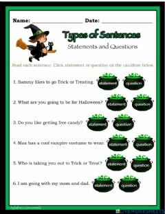 Ficha interactiva Types of Sentences (statement and question)