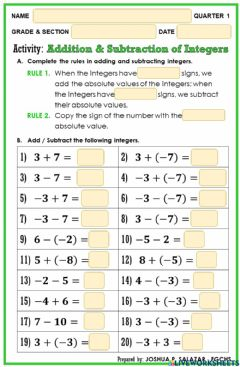Ficha interactiva Addition and Subtraction of Integers