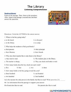 Interactive worksheet The Library Listening Comprehension