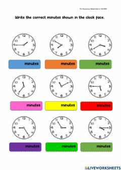 Interactive worksheet Recognise minutes