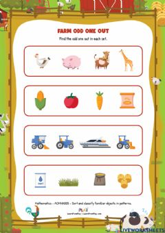 Interactive worksheet A Year On Our Farm - Farm Odd One Out
