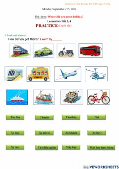 Interactive worksheet Unit 3: Where did you go on holiday?