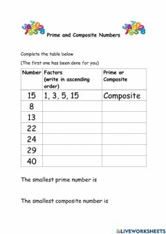 Interactive worksheet Prime and Composite Numbers