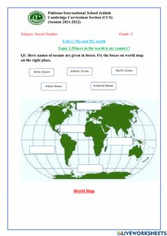 Interactive worksheet Where in the world is my country