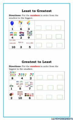 Interactive worksheet Least to Greatest-Greatest to Least