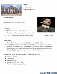 Interactive worksheet The First Parliament Notes