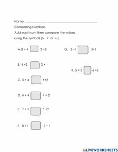 Interactive worksheet Comparing Numbers