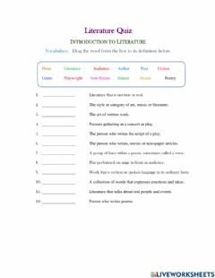 Interactive worksheet Introduction to Literature