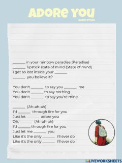 Interactive worksheet Adore you