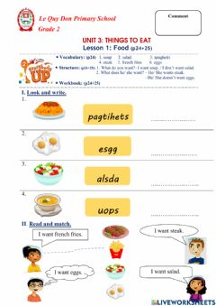 Ficha interactiva Unit 3: Things to eat - Lesson 1: Food