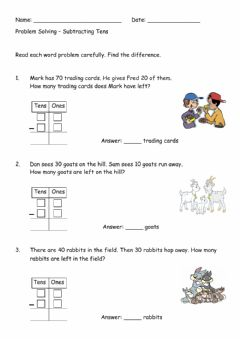 Interactive worksheet Subtracting Tens