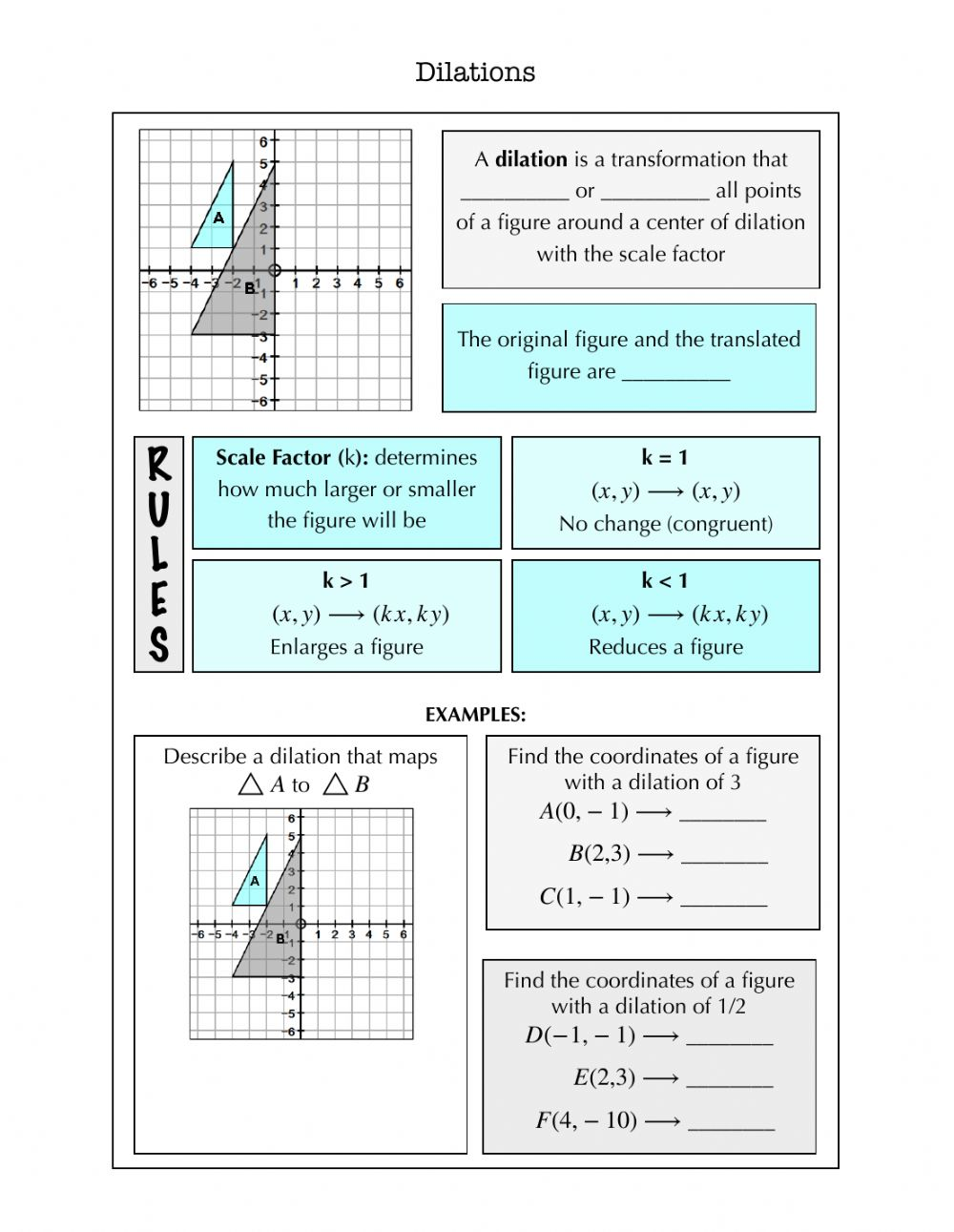 Dilations Notes worksheet Pertaining To Dilations Translations Worksheet Answers