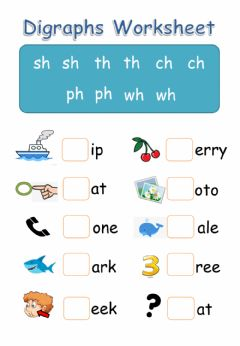 Interactive worksheet Digraphs - SH, TH, CH, PH, WH