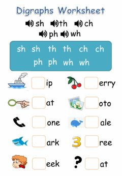 Ficha interactiva Digraphs(with hints) - SH, TH, CH, PH, WH