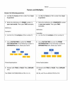Interactive worksheet Quiz on factors and multiples