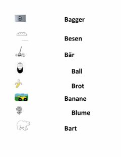 Interactive worksheet Buchstabe B