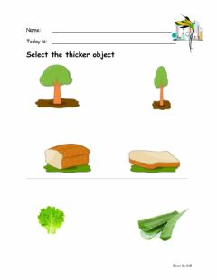 Interactive worksheet Thick and thin