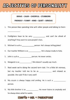 Interactive worksheet Vocabulary - Adjectives of Personality