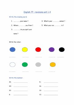 Interactive worksheet Questions, colours, numbers 1-20