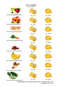 Interactive worksheet Likes and dislikes - fruits and vegetables