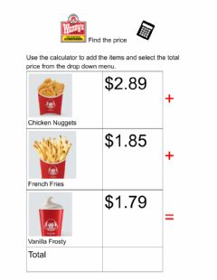 Interactive worksheet Find the price Wendys 5