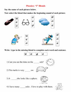 Interactive worksheet Consonant Blends - l blends