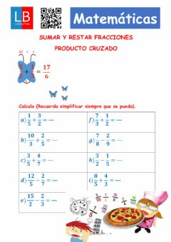 Interactive worksheet Suma de fracciones