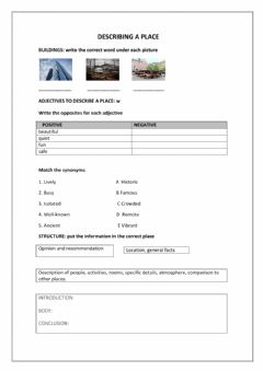 Interactive worksheet Description of a place