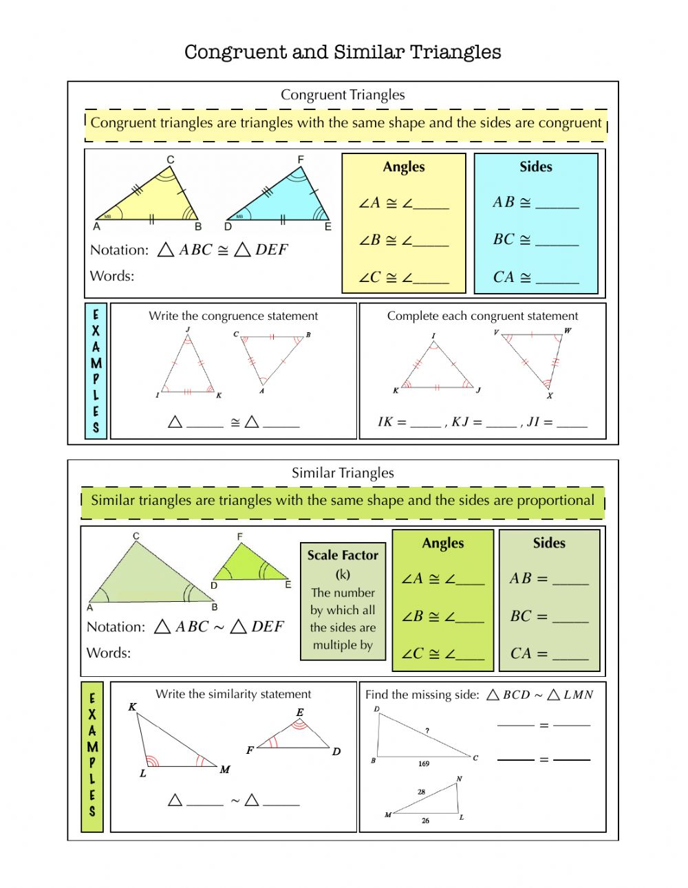 Congruent and Similar Triangles Notes worksheet In Similar Figures Worksheet Answers