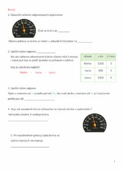 Interactive worksheet Jednoliko gibanje