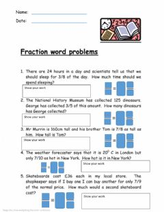 Interactive worksheet Multiplying Fractions Word Problems