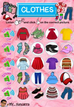 Interactive worksheet Clothes (Listen and click)