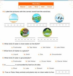 Interactive worksheet Oceans,rivers and lakes