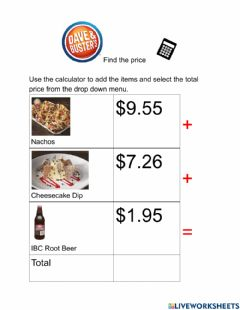 Interactive worksheet Find the price Dave and Busters