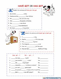 Interactive worksheet Have got or has got